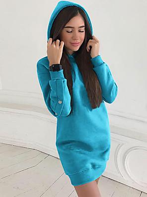 cheap Women's Dresses-Women's Mini Sheath Dress - Long Sleeve Solid Colored Black Blue Red Light Blue S M L XL XXL