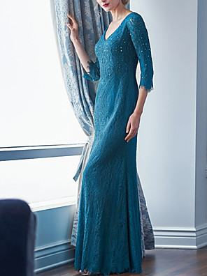 cheap Evening Dresses-Sheath / Column Mother of the Bride Dress Elegant & Luxurious V Neck Floor Length Lace 3/4 Length Sleeve with Crystals 2020