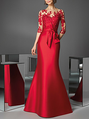 cheap Prom Dresses-Mermaid / Trumpet Beautiful Back Red Wedding Guest Formal Evening Dress Illusion Neck 3/4 Length Sleeve Floor Length Satin with Appliques 2020