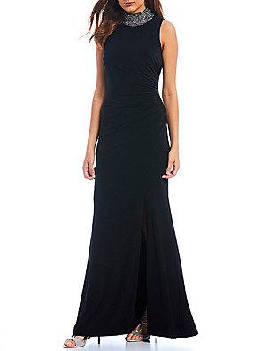 cheap Evening Dresses-Sheath / Column Elegant Formal Evening Dress High Neck Sleeveless Floor Length Spandex with Ruched Crystals Split Front 2020