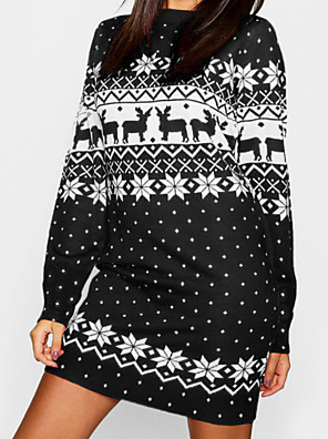 cheap Women's Dresses-Women's Mini Sweater Dress - Long Sleeve Animal Print Basic Christmas Party Daily Wear Loose Black Blue Red Green Light Blue S M L XL