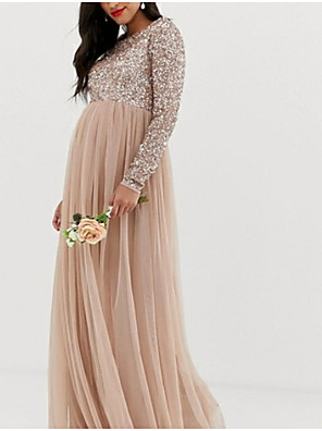 cheap Evening Dresses-A-Line Elegant Formal Evening Dress Jewel Neck Long Sleeve Floor Length Tulle with Pleats Sequin 2020