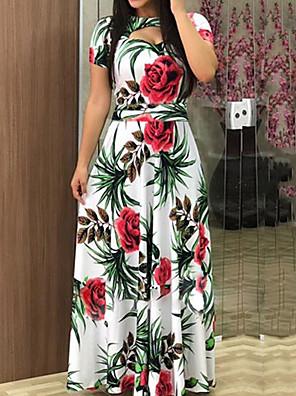 cheap Maxi Dresses-Women's Maxi Swing Dress - Short Sleeve Floral Elegant White Black Fuchsia Green Navy Blue S M L XL XXL XXXL XXXXL XXXXXL