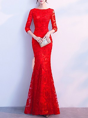 cheap Evening Dresses-Mermaid / Trumpet Elegant Red Engagement Formal Evening Dress Boat Neck 3/4 Length Sleeve Floor Length Polyester with Lace Insert Appliques 2020