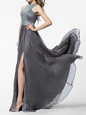 cheap Prom Dresses-A-Line Empire Grey Prom Formal Evening Dress Jewel Neck Sleeveless Sweep / Brush Train Chiffon with Crystals Split Front 2020