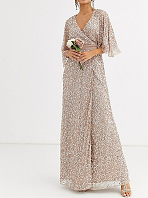 cheap Cocktail Dresses-Sheath / Column Sparkle Pink Wedding Guest Formal Evening Dress V Neck Half Sleeve Floor Length Sequined with Sequin 2020