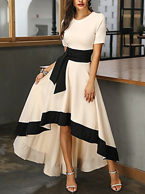 cheap Evening Dresses-A-Line Mother of the Bride Dress Plus Size Jewel Neck Asymmetrical Satin Short Sleeve with Sash / Ribbon 2020