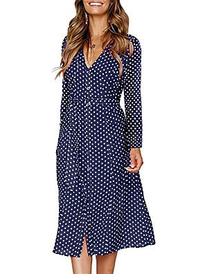 tanie Topy damskie-Damskie Sukienka rozkloszowana Sukienka midi - Długi rękaw Geometric Shape Nadruk Czarny Niebieski S M L XL