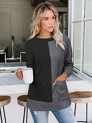 cheap Women's Sweaters-Women's Color Block Long Sleeve Pullover Sweater Jumper, Round Neck Black / Blushing Pink / Khaki S / M / L