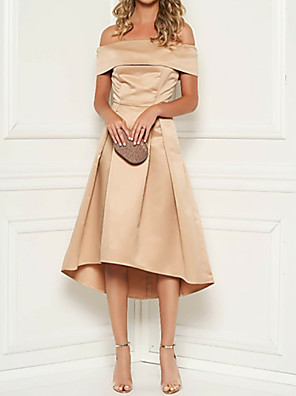 cheap Mother of the Bride Dresses-A-Line Mother of the Bride Dress Plus Size Off Shoulder Tea Length Satin Short Sleeve with Ruching 2020