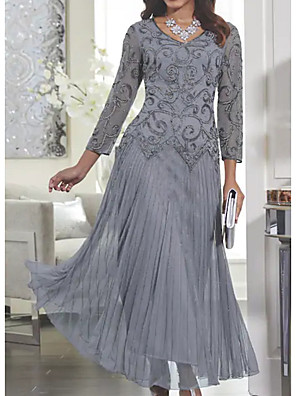 cheap Cocktail Dresses-Women's Maxi Swing Dress - Long Sleeve Solid Colored Lace Spring Fall V Neck Slim Gray M L XL XXL XXXL