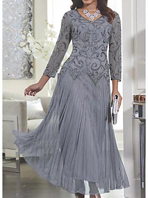 cheap Evening Dresses-Women's Maxi Swing Dress - Long Sleeve Solid Colored Lace Spring Fall V Neck Slim Gray M L XL XXL XXXL