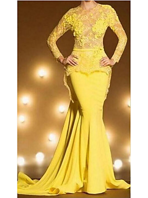 cheap Evening Dresses-Mermaid / Trumpet Peplum Yellow Engagement Formal Evening Dress Illusion Neck Long Sleeve Court Train Lace with Draping Overskirt Appliques 2020