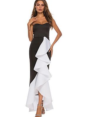 cheap Women's Dresses-Women's Maxi Swing Dress - Sleeveless Color Block Off Shoulder Black S M L XL XXL