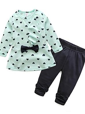 povoljno Kompletići za bebe-Dijete koje je tek prohodalo Djevojčice Osnovni Dnevno Mašna Print Dugih rukava Duga Pamuk Komplet odjeće purpurna boja