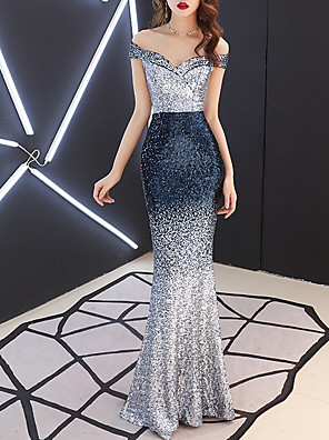 cheap Evening Dresses-Mermaid / Trumpet Color Block Blue Engagement Formal Evening Dress Off Shoulder Short Sleeve Floor Length Polyester with Sequin 2020