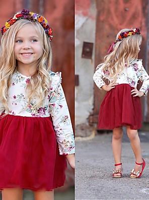 cheap Girls' Dresses-Baby Girls' Street chic Floral Long Sleeve Dress White / Toddler