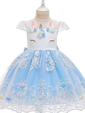 cheap Girls' Dresses-Kids Girls' Floral Dress Light Blue