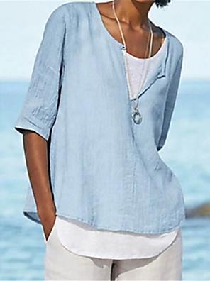 cheap Women's T-shirts-Women's T-shirt Solid Colored Loose Tops Basic Light gray Navy Blue Light Blue