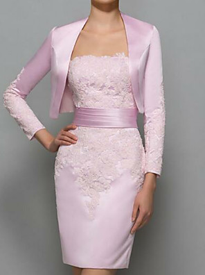 cheap Evening Dresses-Sheath / Column Mother of the Bride Dress Elegant Plus Size Strapless Short / Mini Polyester Long Sleeve with Lace 2020