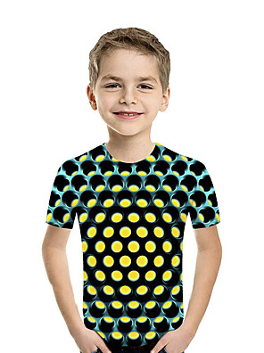 cheap Girls' Dresses-Kids Toddler Boys' Active Basic Geometric Print Color Block Print Short Sleeve Tee Fuchsia