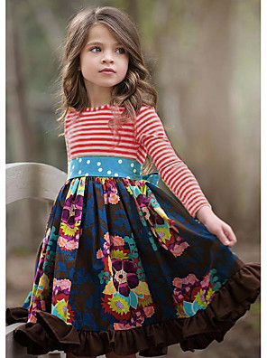 cheap Girls' Dresses-Kids Girls' Flower Basic Striped Pleated Patchwork Long Sleeve Knee-length Dress Red / Cotton