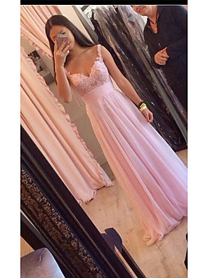 cheap Prom Dresses-A-Line Elegant Pink Wedding Guest Prom Dress Spaghetti Strap Sleeveless Sweep / Brush Train Chiffon with Lace Insert Appliques 2020
