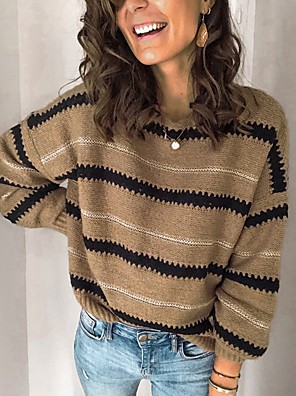 cheap Women's Tops-Women's Striped Pullover Long Sleeve Sweater Cardigans Round Neck White Black Camel
