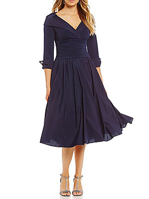 cheap Mother of the Bride Dresses-A-Line Mother of the Bride Dress Elegant Plus Size V Neck Tea Length Chiffon Half Sleeve with Appliques 2020