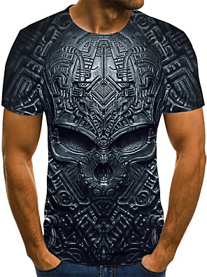 cheap Men's Tees & Tank Tops-Men's Daily Plus Size T-shirt 3D Graphic Skull Print Short Sleeve Tops Streetwear Exaggerated Round Neck Black Blue Purple