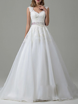 cheap Wedding Dresses-A-Line Wedding Dresses V Neck Sweep / Brush Train Tulle Regular Straps Vintage Backless with Sashes / Ribbons Lace Insert 2020