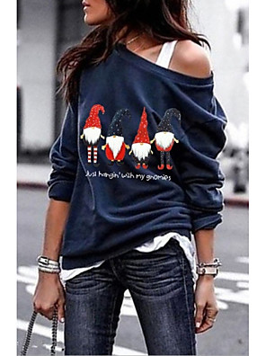 cheap Women's Tops-Women's Daily T-shirt Cartoon Long Sleeve Tops White Black Wine