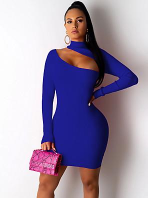 cheap Mini Dresses-Women's Mini Bodycon Dress - Long Sleeve Solid Colored Crew Neck Elegant Slim Black Blue Fuchsia S M L XL