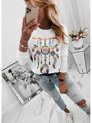cheap Women's Blouses & Shirts-Women's Blouse Solid Colored Print Tops Basic White