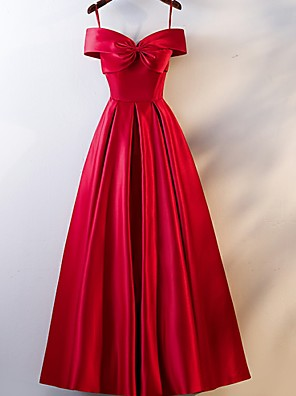 cheap Evening Dresses-A-Line Open Back Prom Formal Evening Dress Off Shoulder Short Sleeve Floor Length Satin with Ruched 2020