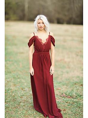 cheap Prom Dresses-A-Line Spaghetti Strap Floor Length Chiffon Bridesmaid Dress with Lace / Pleats