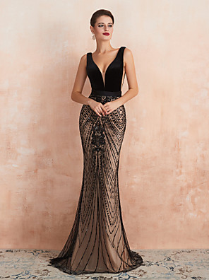 cheap Evening Dresses-Mermaid / Trumpet Luxurious Black Wedding Guest Formal Evening Dress V Neck Sleeveless Sweep / Brush Train Velvet with Beading 2020
