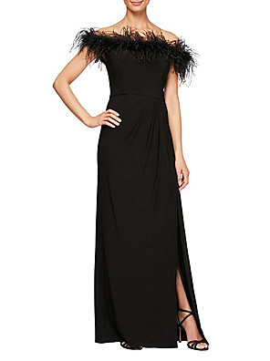cheap Wedding Dresses-Sheath / Column Elegant Formal Evening Dress Off Shoulder Short Sleeve Floor Length Stretch Satin with Feathers / Fur Draping 2020