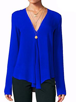 お買い得  レディーストップス-女性用 Tシャツ ソリッド 長袖 トップの Vネック ホワイト ブラック ブルー