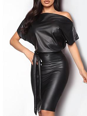 cheap Romantic Lace Dresses-Women's Sheath Dress - Short Sleeve Solid Colored Off Shoulder Slim Black S M L XL