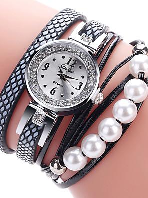 cheap Bracelet Watches-Women's Bracelet Watch Cubic Zirconia Casual Elegant Black White Pink PU Leather Chinese Quartz Black White Blushing Pink Casual Watch Imitation Diamond 1 pc Analog One Year Battery Life