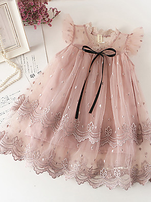 cheap Prom Dresses-Toddler Girls' Sweet Cute Solid Colored Lace Sleeveless Knee-length Dress White