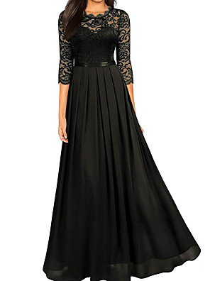 cheap Evening Dresses-A-Line Empire Black Wedding Guest Formal Evening Dress Jewel Neck Half Sleeve Floor Length Lace with Lace Insert 2020
