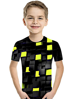 cheap Tankinis-Kids Toddler Boys' Active Basic Geometric Print Color Block Print Short Sleeve Tee Purple