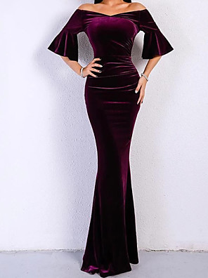cheap Evening Dresses-Sheath / Column Elegant Formal Evening Dress Off Shoulder Half Sleeve Floor Length Velvet with 2020