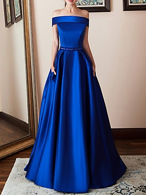 cheap Evening Dresses-A-Line Elegant Blue Prom Formal Evening Dress Off Shoulder Short Sleeve Floor Length Polyester with Beading 2020