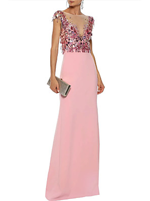 cheap Prom Dresses-Sheath / Column Elegant Formal Evening Dress Jewel Neck Sleeveless Floor Length Polyester with Sequin 2020