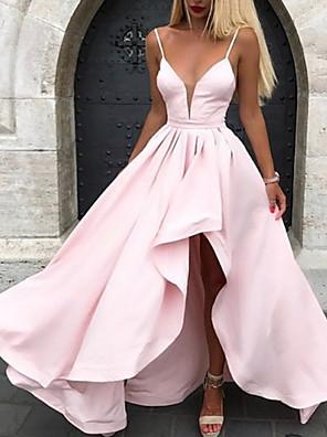 cheap Bridesmaid Dresses-A-Line Spaghetti Strap Asymmetrical Polyester Bridesmaid Dress with