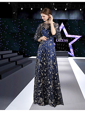 cheap Evening Dresses-A-Line Elegant Formal Evening Dress Jewel Neck Half Sleeve Floor Length Lace Satin Tulle with 2020