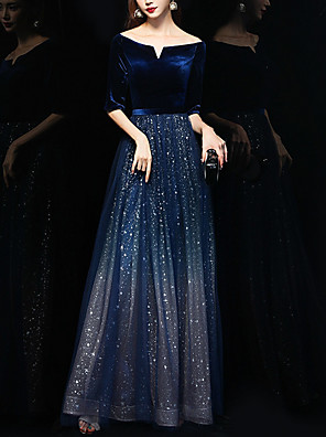 cheap Prom Dresses-A-Line Sparkle Blue Wedding Guest Formal Evening Dress Off Shoulder Half Sleeve Floor Length Polyester with Sequin 2020